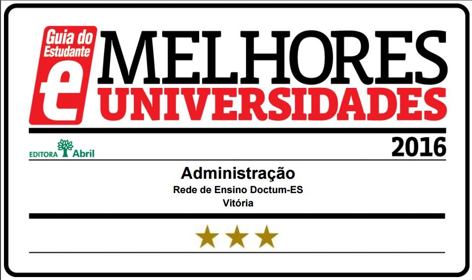 Curso de Administração da Doctum Vitória é classificado com 3 Estrelas pelo Guia do Estudante