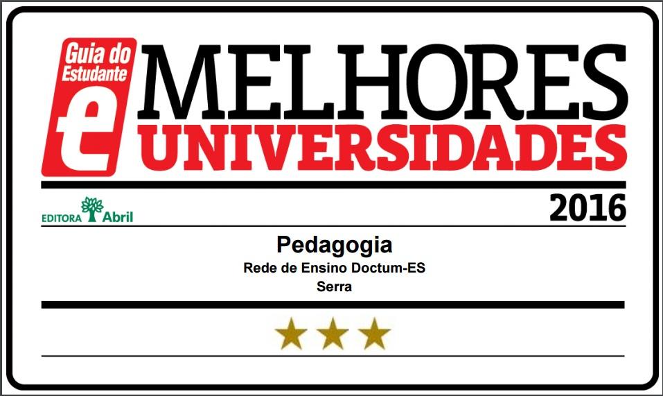 Curso de Pedagogia da Doctum Serra é classificado com 3 Estrelas pelo Guia do Estudante