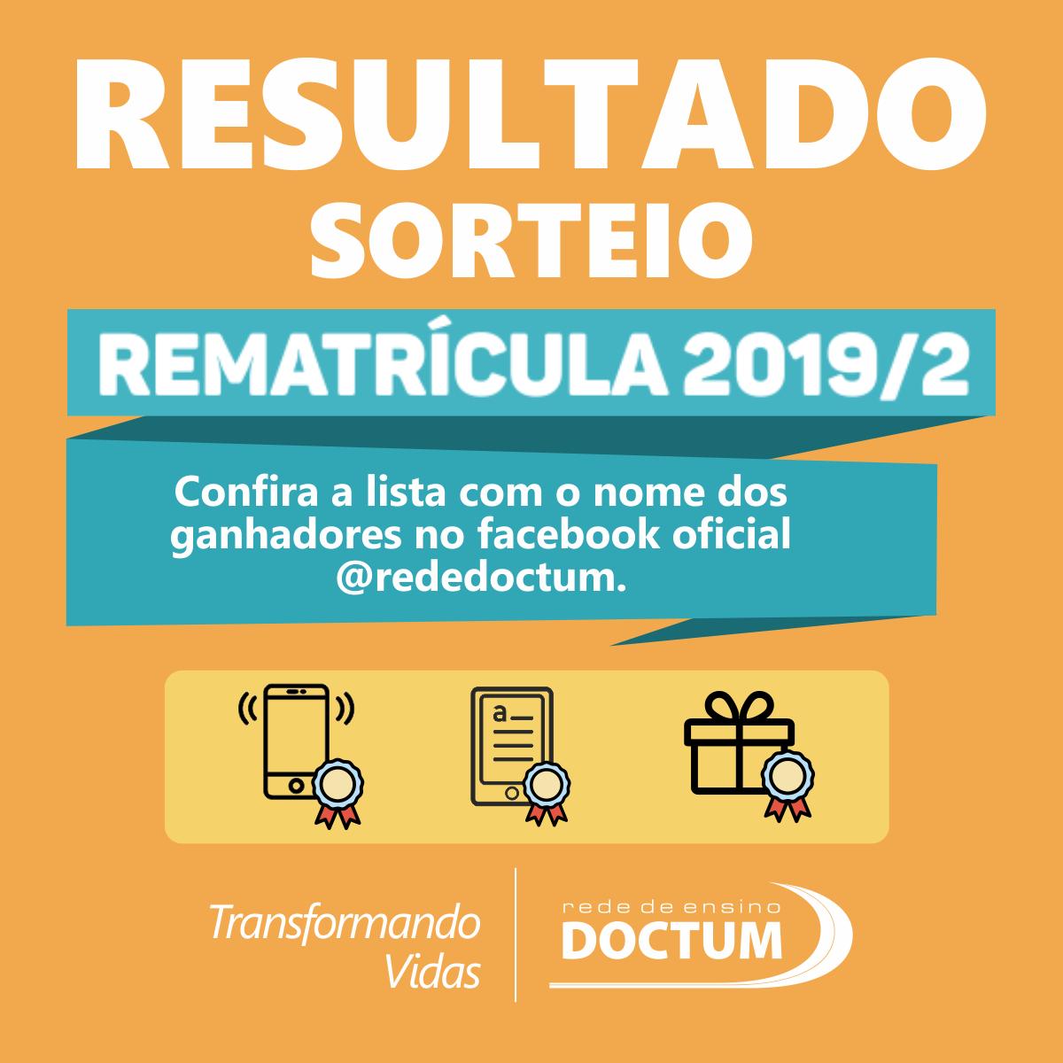 RESULTADO SORTEIO BRINDES REMATRICULA 2019 - Instagran (feed)