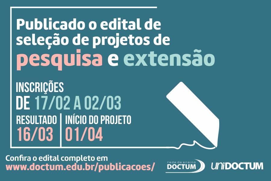 Doctum divulga edital para seleção de projetos de pesquisa e extensão